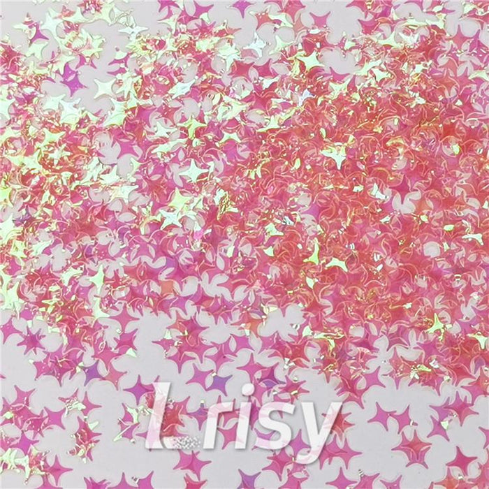 Four Pointed Star Shapes Rose Pink Translucent Glitter C018
