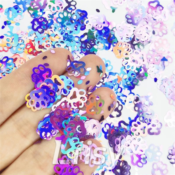 Cat PAWS Shaped Laser Holographic Light Purple Glitter LB0802