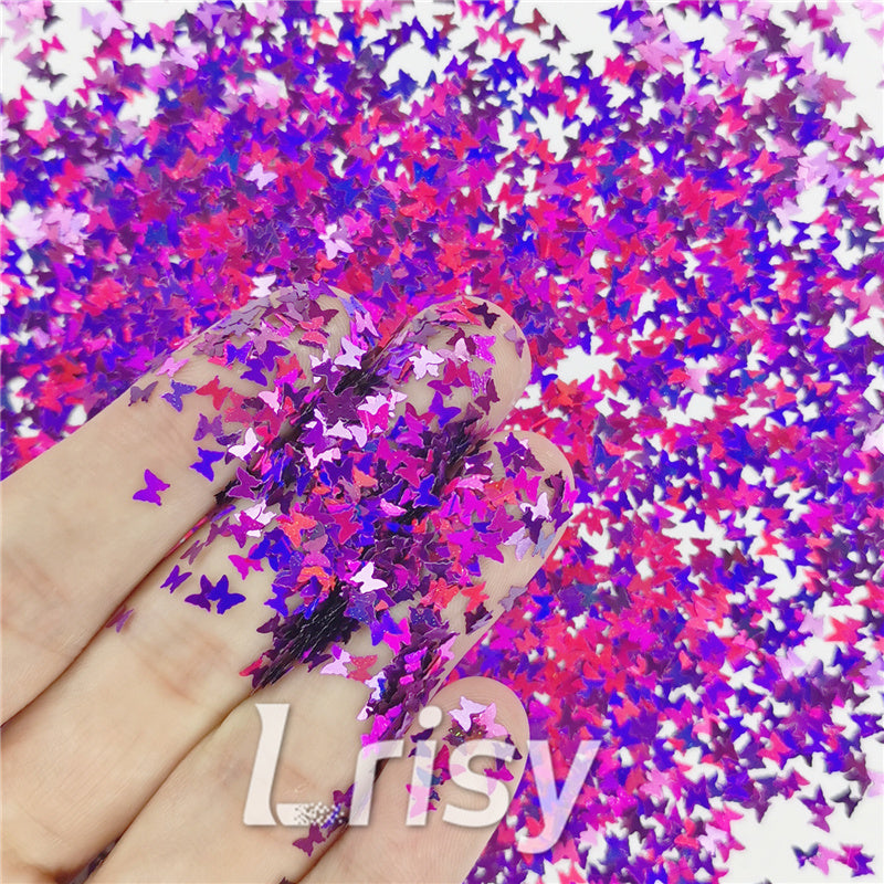 Butterfly Shapes Laser Purple Glitter LB0800
