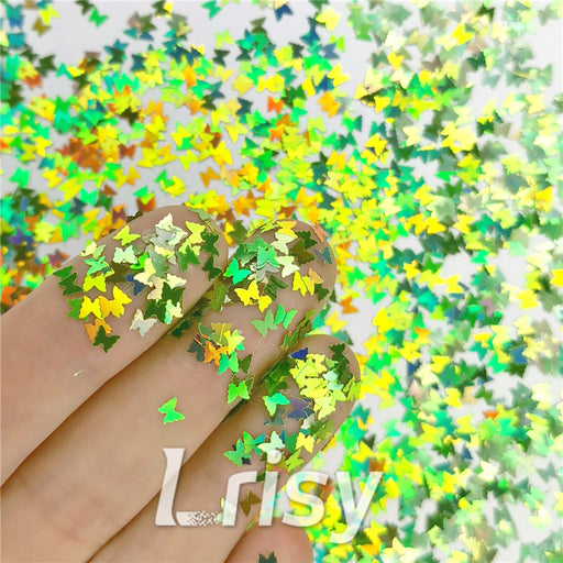 Butterfly Shapes Laser Green Glitter LB0601