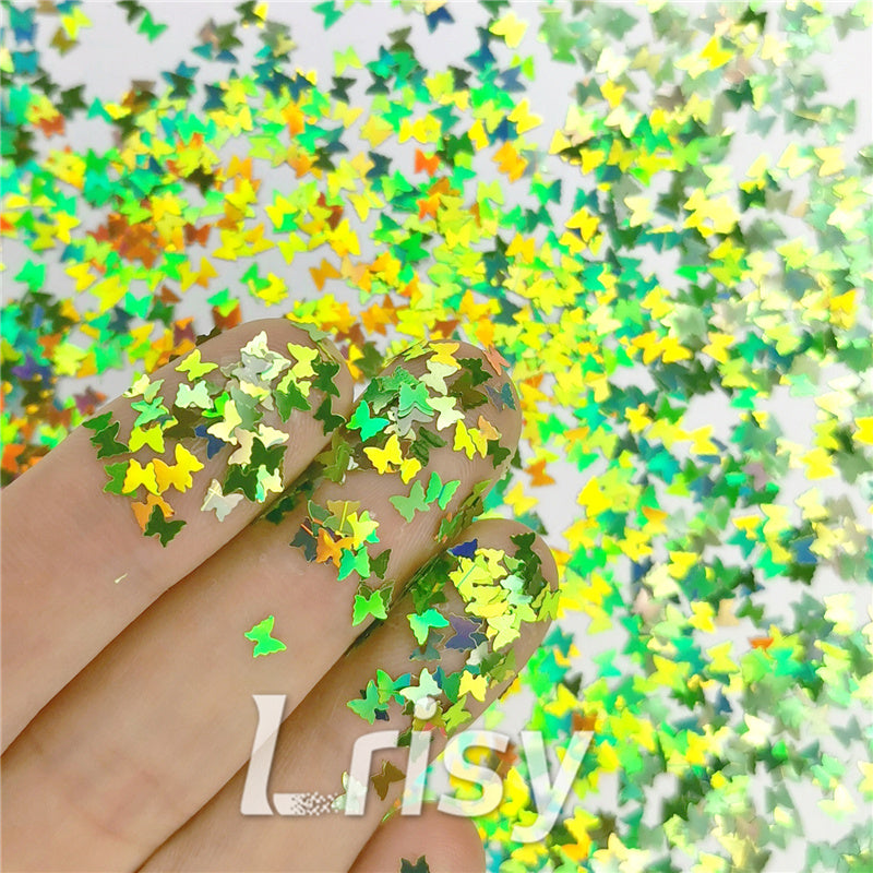 Butterfly Shapes Laser Green Glitter