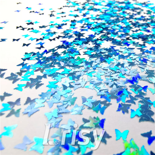 Butterfly Shapes Laser Sky Blue Glitter
