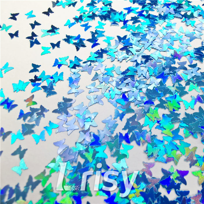 Butterfly Shapes Laser Sky Blue Glitter LB0700