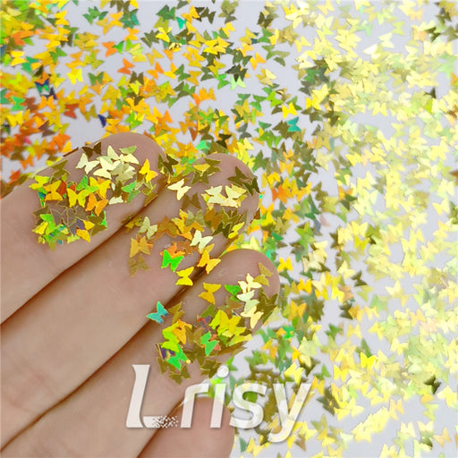 Butterfly Shapes Laser Gold Glitte LB0210