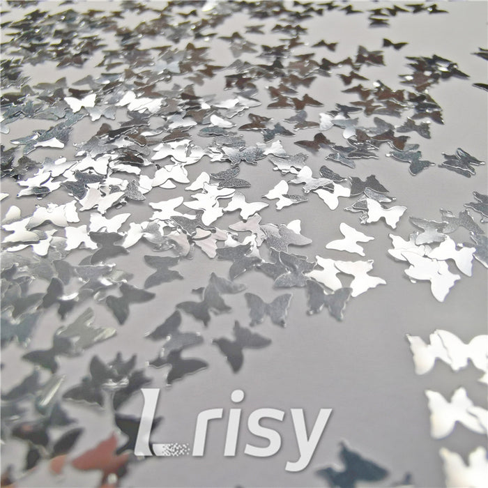 Butterfly Shapes Silver Glitter B0100