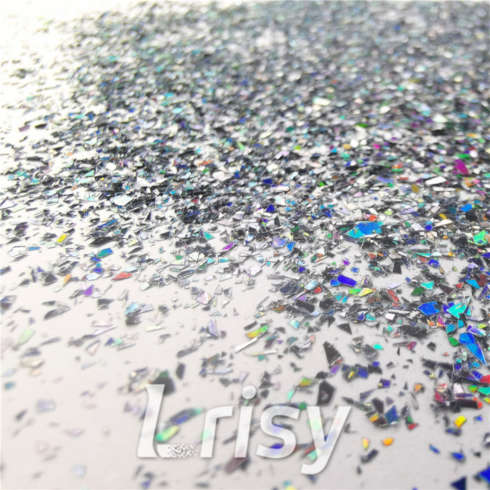Holographic Black Metal Opa Cellophane Shard Confetti Glitter Sprinkle Toppings