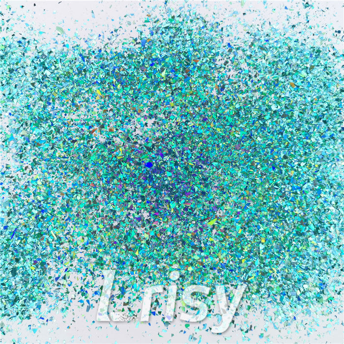 Holographic Teal Green Opa Cellophane Shard Confetti Glitter Sprinkle Toppings LB0702