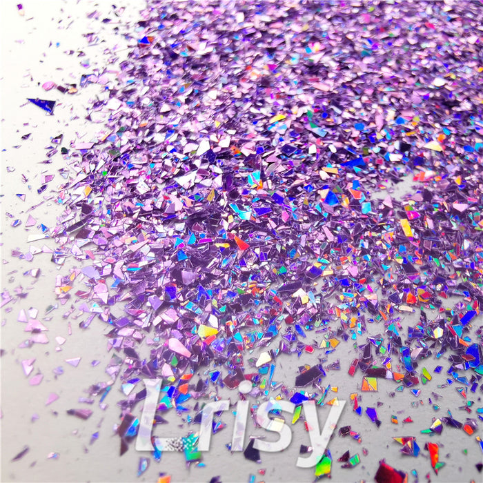 Holographic Light Purple Opa Cellophane Shard Confetti Glitter Sprinkle Toppings LB0802