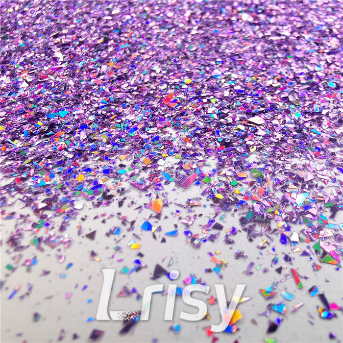 Holographic Light Purple Opa Cellophane Shard Confetti Glitter Sprinkle Toppings
