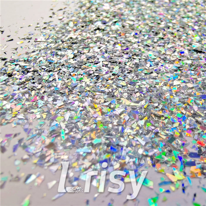 Holographic Silver Opa Cellophane Shard Confetti Glitter Sprinkle Toppings LB0100