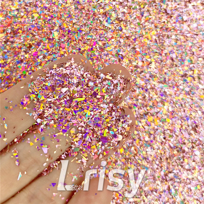 Holographic Hazy Pink Opa Cellophane Shard Confetti Glitter Sprinkle Toppings LB0911