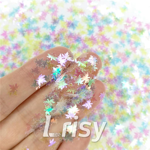 Maple Leaf Leaves Shaped Rainbow Iridescent Glitter C022