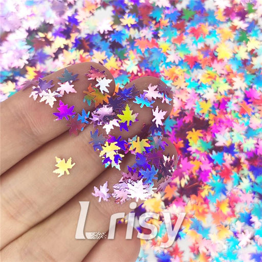 Holographic Pink Maple Leaf Leaves Shaped Glitter LB0901