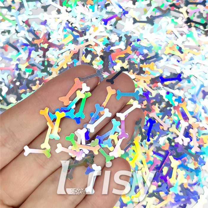 10mm Holographic Silver Bone Shaped Glitter LB100
