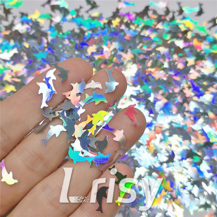 Holographic Silver Dolphin Shaped Glitter LB100