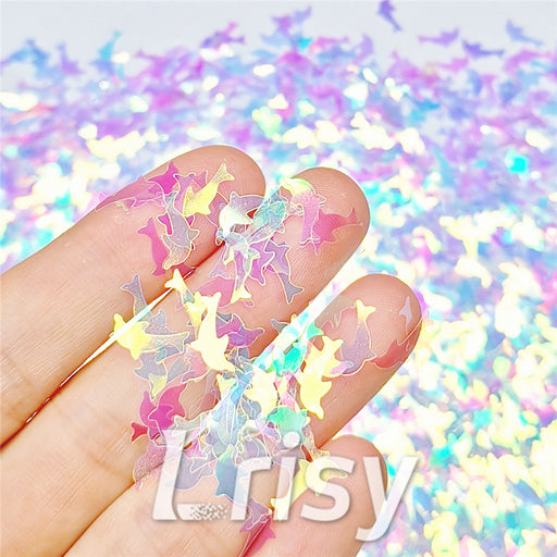 Dolphin Shaped Dream Blue Iridescent Glitter C004