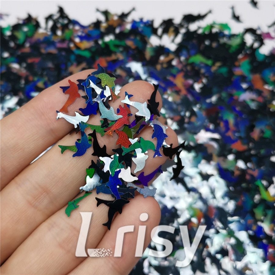 Holographic Black Dolphin Shaped Glitter LB1000