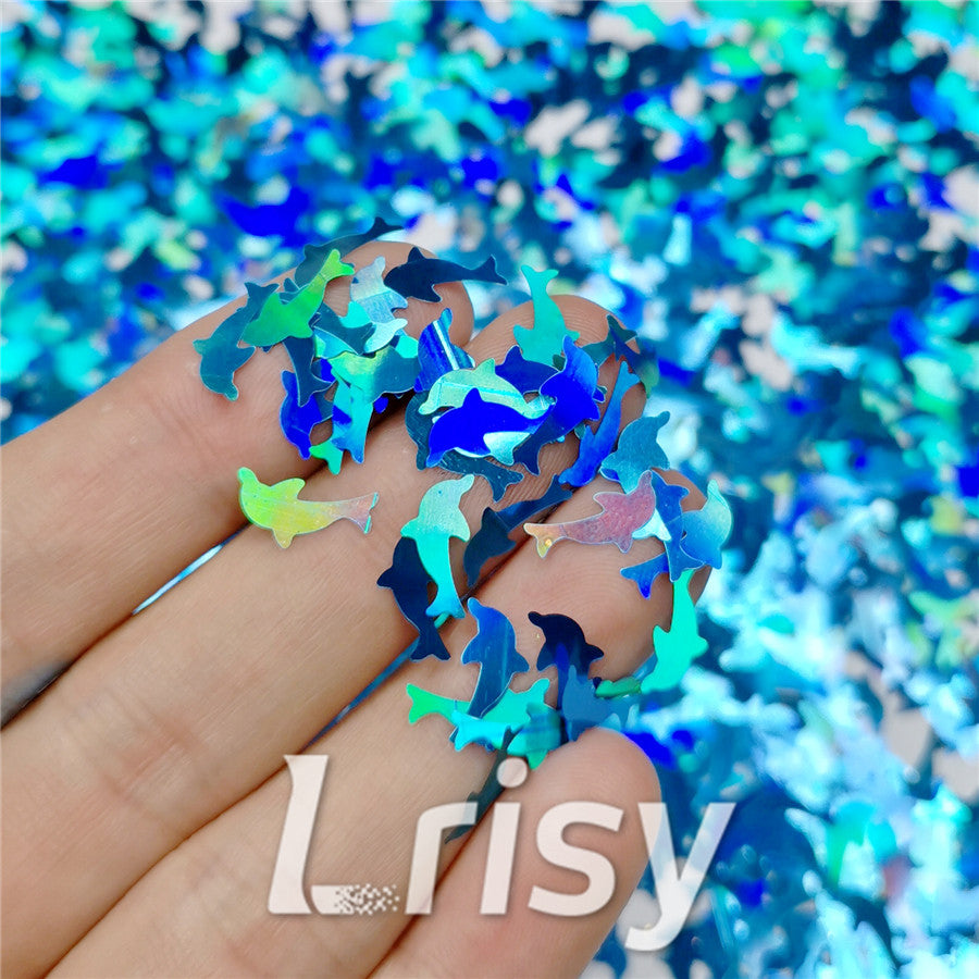 Holographic Sky Blue Dolphin Shaped Glitter LB700