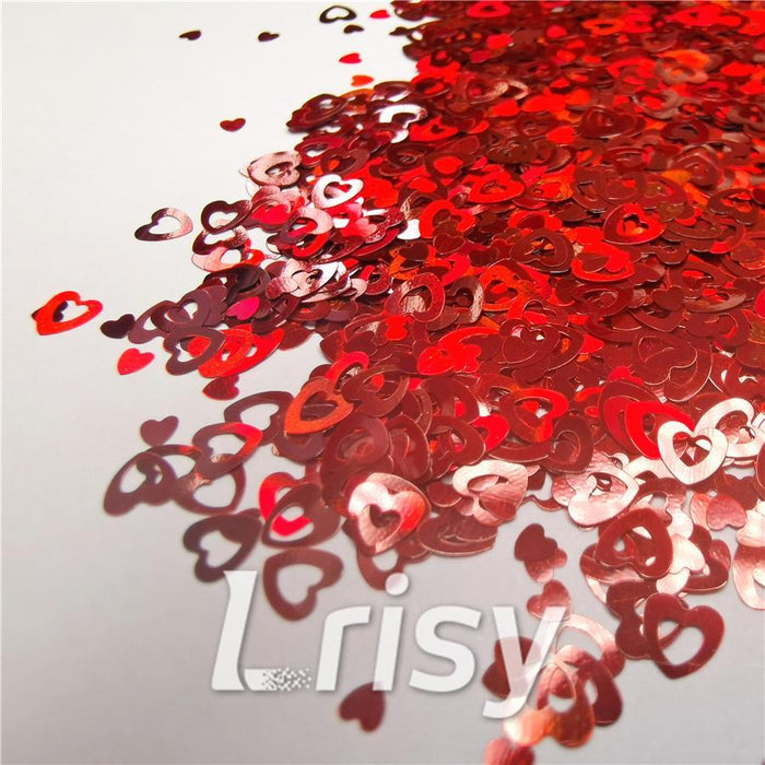 Holographic Red Hollow Out Heart Shaped Glitter LB0300