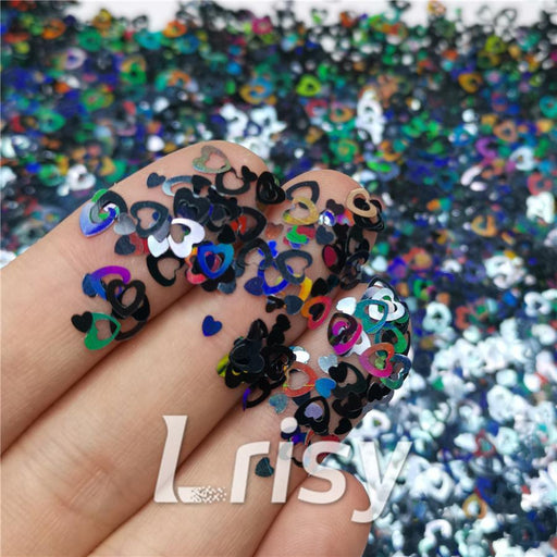 Holographic Black Hollow Out Heart Shaped Glitter LB01000