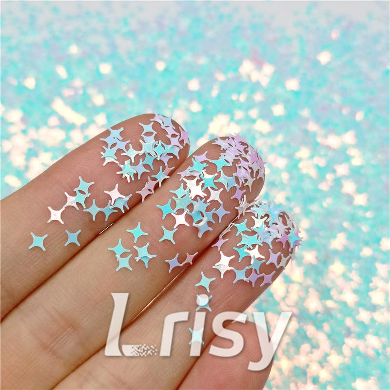 Four Pointed Star Shaped Ice Blue Iridescent Glitter C021R