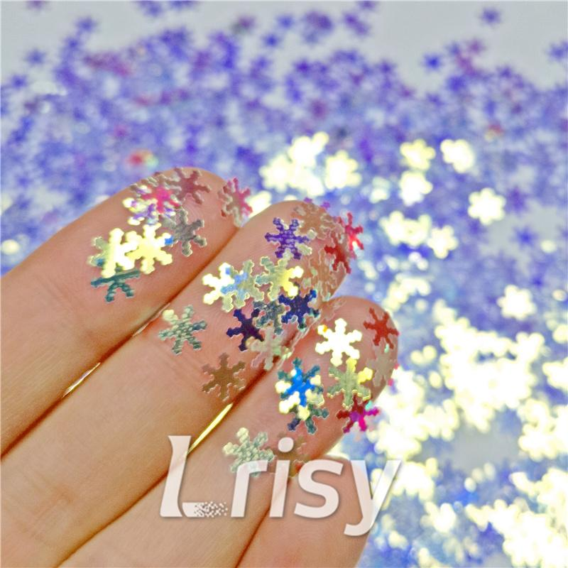 Snowflake Shaped Royal Blue Iridescent Glitter F321A