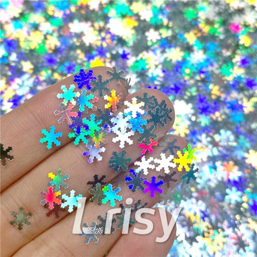 Holographic Silver Snowflake Shaped Glitter LB100