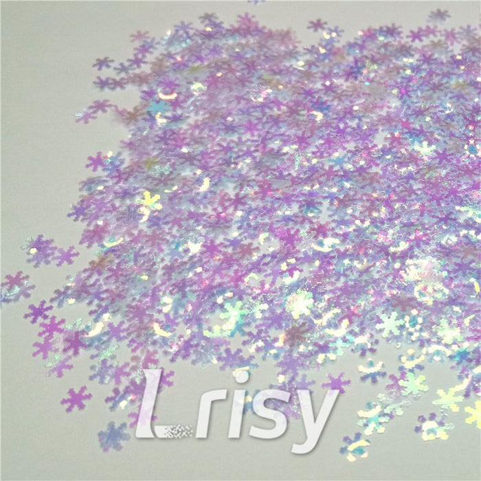 Snowflake Shaped Dream Blue Iridescent Glitter C004