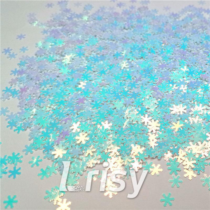 Snowflake Shaped Ice Blue Iridescent Glitter C021R