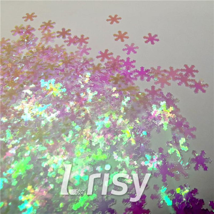 Snowflake Shaped Dream Pink Iridescent Glitter C003