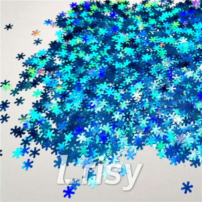 Holographic Sky Blue Snowflake Shaped Glitter LB700