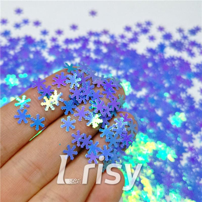 Snowflake Shaped Dream Sky Blue Iridescent Glitter C011R