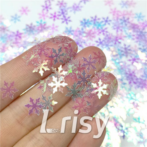 9mm Snowflake Shaped Iridescent Glitter C004