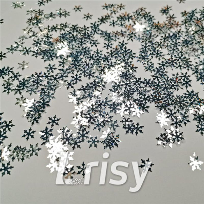 9mm Snowflake Shaped Mirror Silver Glitter GSY001