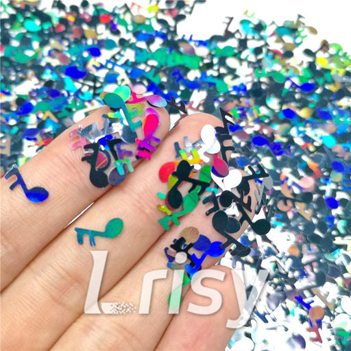 10mm Music notes Shaped Holographic Black Glitter LB1000