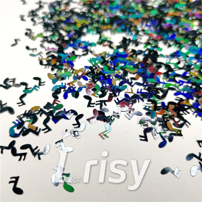 6mm Music notes Shaped Holographic Black Glitter LB1000