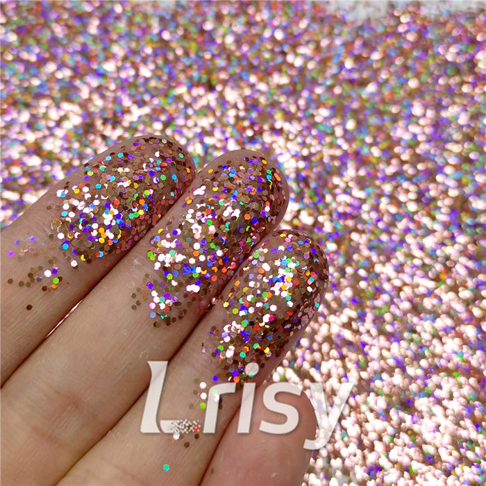 0.8mm Hexagon Cosmetic Grade Holographic Pink Glitter SLG006