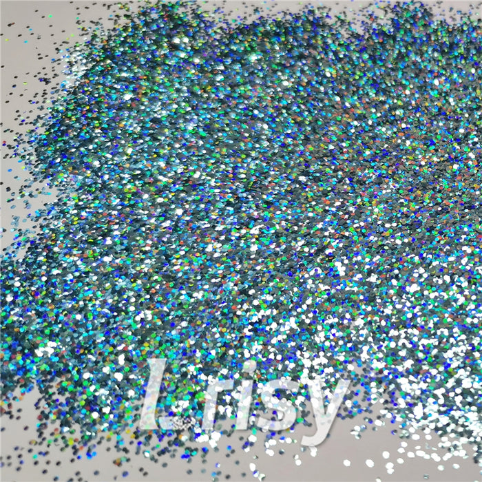 0.8mm Hexagon Cosmetic Grade Holographic Sky Blue Glitter SLG009