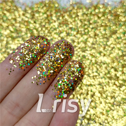0.8mm Hexagon Shaped Holographic Gold Glitter SLG003