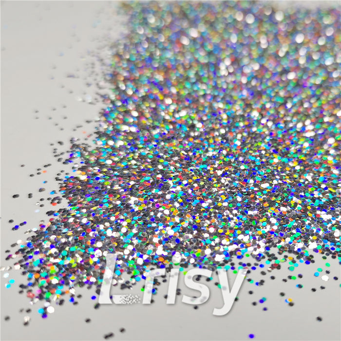 0.8mm Hexagon Cosmetic Grade Holographic Silver Glitter SLG001