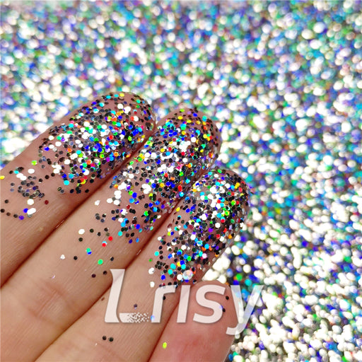 0.8mm Hexagon Shaped Holographic Silver Glitter SLG001