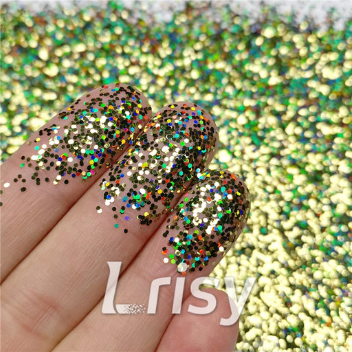 0.8mm Hexagon Shaped Holographic Lemon Green Glitter SLG010