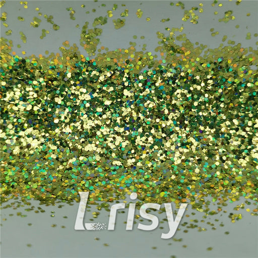0.8mm Hexagon Shaped Holographic Grass Green Glitter SLG007