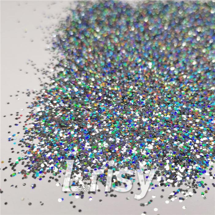 0.8mm Hexagon Cosmetic Grade Holographic Gray Glitter SLG011