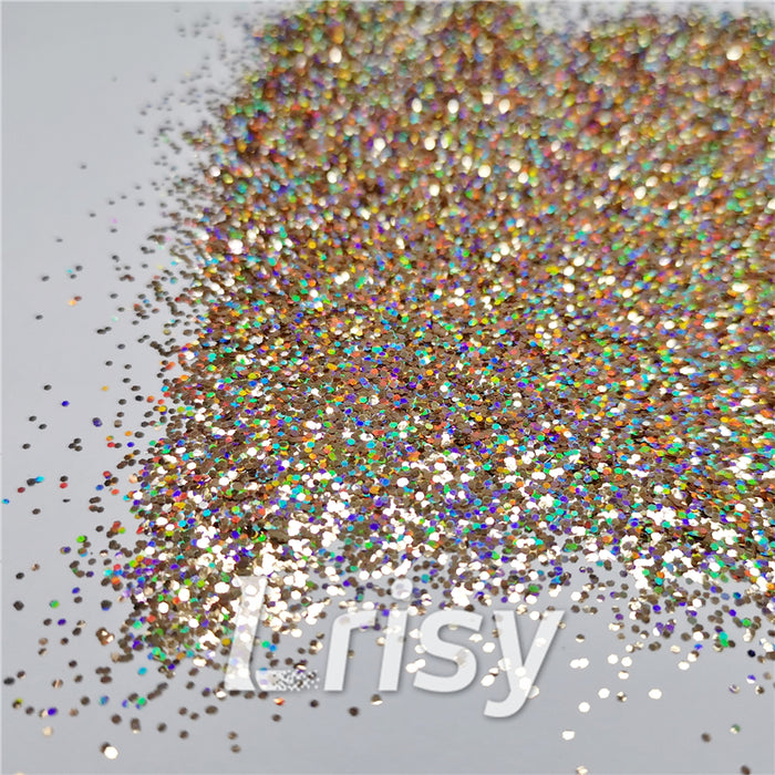 0.8mm Hexagon Cosmetic Grade Holographic Sand Gold Glitter SLG002