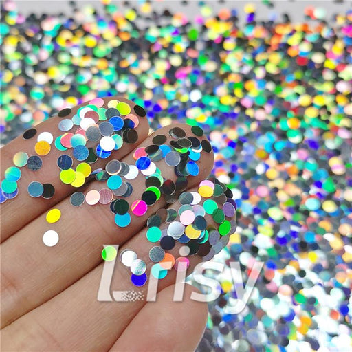 Round Shapes Laser Silver Glitter LB0100