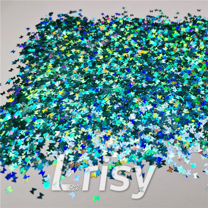 3mm Butterfly Shaped Holographic Teal Green Glitter LB0702