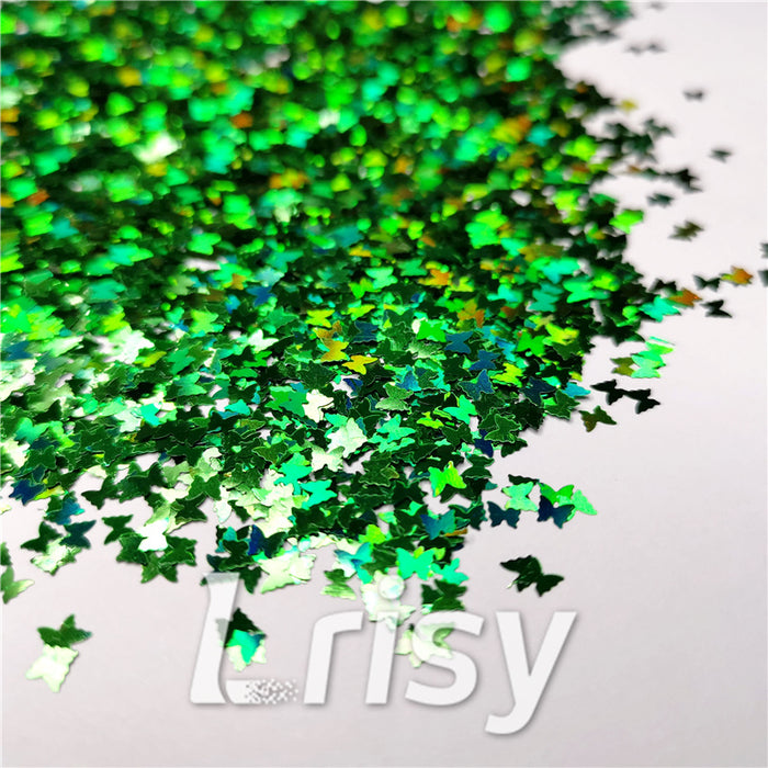 3mm Butterfly Shaped Holographic Green Glitter LB600