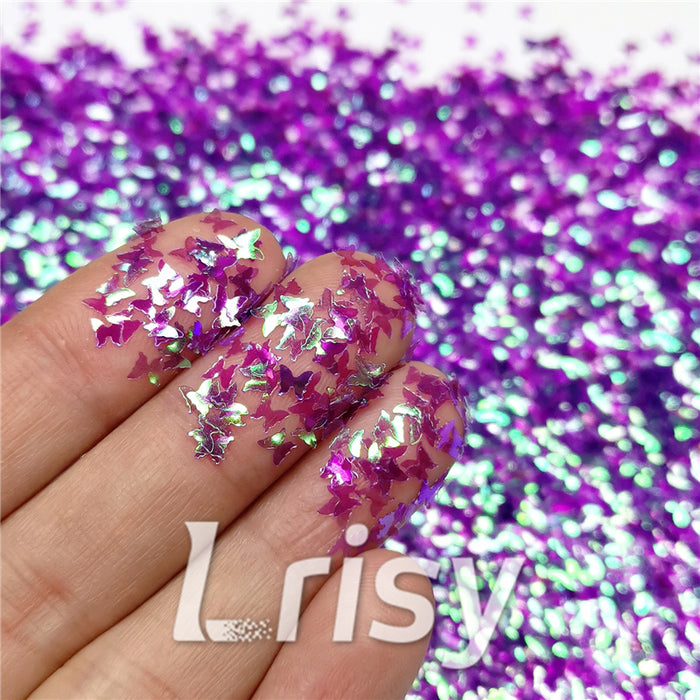 3mm Butterfly Shaped Iridescent Purple Glitter C006
