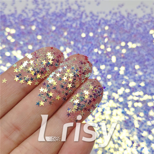 2.5mm Star Shaped Royal Blue Iridescent Glitter F321A